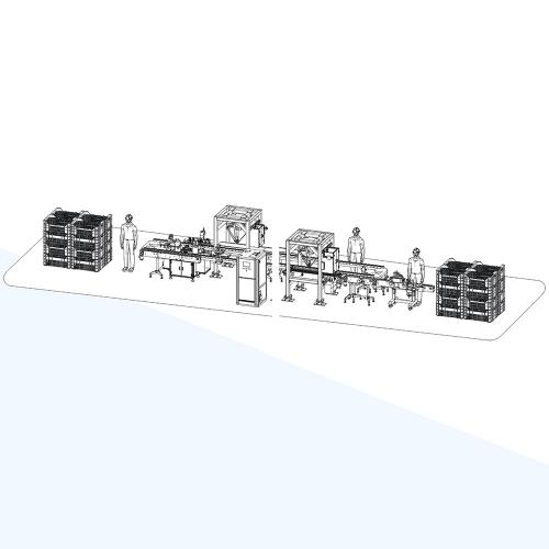 广州龟苓膏自动贴标扫码组装流水线